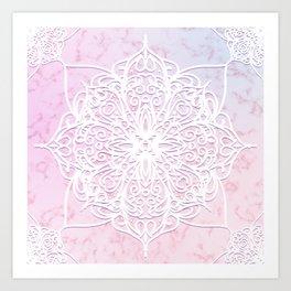 Candyfloss Marble Mandala Art Print