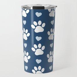 Dog Paws, Traces, Animal Paws, Hearts - Blue White Travel Mug