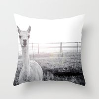 llama Throw Pillows featuring Llama by PoseManikin