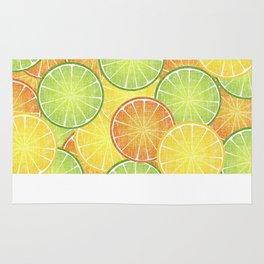Orange Lemon and Lime  Citrus Fruit Slices Rug