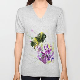 Bumblebee and Flowers floral bee design Unisex V-Neck