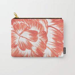 Coral / Orange Dahlia Carry-All Pouch