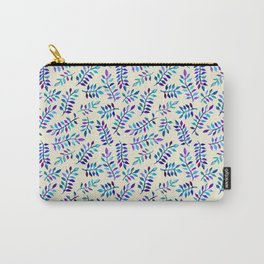 Hand Painted Purple & Aqua Leaf Pattern on Cream Carry-All Pouch