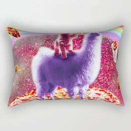 Laser Eyes Outer Space Cat Riding On Llama Unicorn Rectangular Pillow