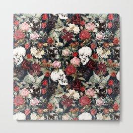 Vintage Floral With Skulls Metal Print