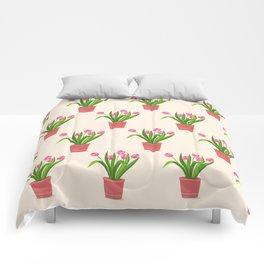 pink tulips in the pot Comforters