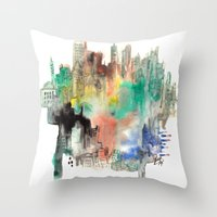 skyline Throw Pillows featuring Skyline by I disegni di Mae