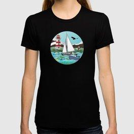 Coastal Sailing - Nautical Landscape Scene T-shirt