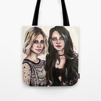 sarah paulson Tote Bags featuring Sarah x Lana by vooce & kat