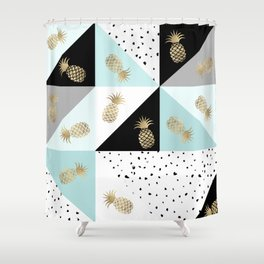 Pastel color block watercolor dots faux gold pineapple Shower Curtain