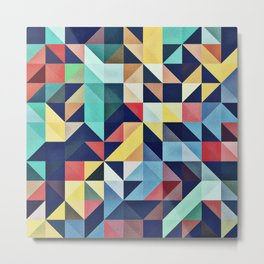 Modern Colorful Retro Geometric Triangle Pattern Metal Print