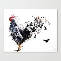 chicken Canvas Prints featuring Chicken by Monika T