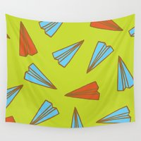 airplanes Wall Tapestries featuring Paper Planes by evannave