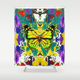 yellow monarch butterfly flower garden shower curtain