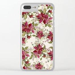 Poinsettia Pattern Clear iPhone Case