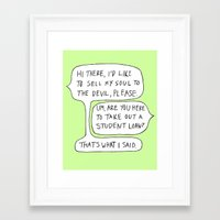 college Framed Art Prints featuring college by s t i n g s