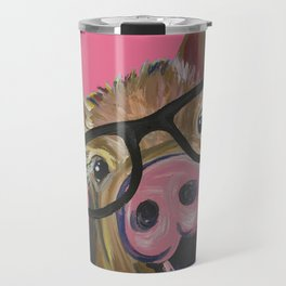 Pink Pig Painting, Cute Farm Animal Travel Mug