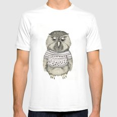 cute owl MEDIUM White Mens Fitted Tee