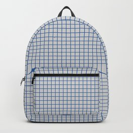 Blue grid pattern on ice grey Backpack