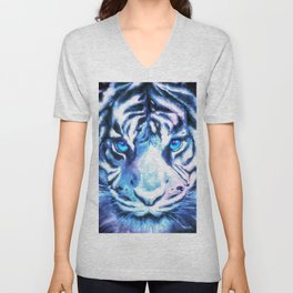 White Tiger | Snow Tiger | Tiger Face | Space Tiger Unisex V-Neck