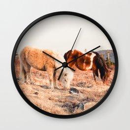 Two Horses Having Dinner Wall Clock