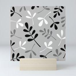 Assorted Leaf Silhouettes Monochrome Mini Art Print