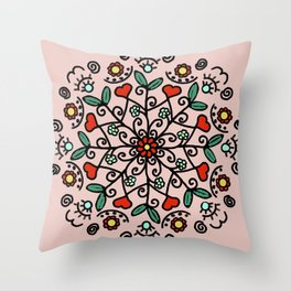 Mandala with hearts | Karina Kamenetzky Throw Pillow