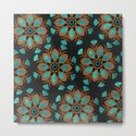 Teal & Brown Decorative Flowers Design by inspiredimages