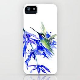 Hummiingbird Fying in the Blue iPhone Case