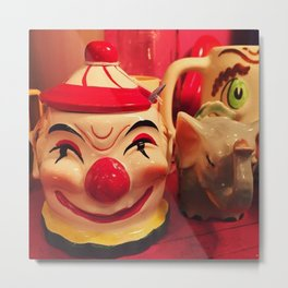 Creepy Clown Cup Metal Print