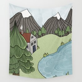 Cabin in the Mountains Wall Tapestry