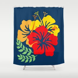 Vintage Hawaiian Tropical Flowers Shower Curtain