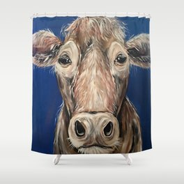 Frederick the Cow - blue background Shower Curtain