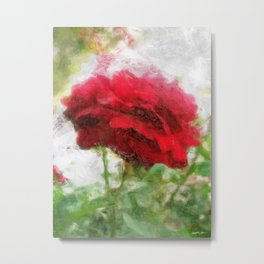 Red Rose with Light 1 Sketchy Metal Print
