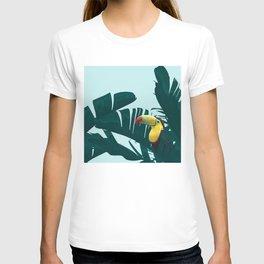 Green Toucan Tropical Banana Leaves Pattern T-shirt