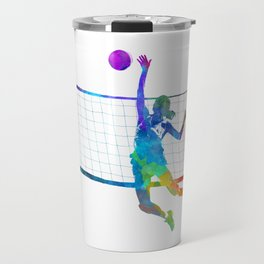 Woman volleyball player in watercolor Travel Mug