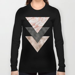 Textured marble and rose gold triangles Long Sleeve T-shirt
