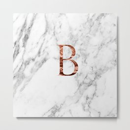 Monogram rose gold marble B Metal Print