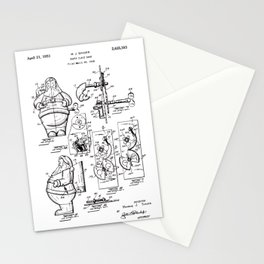 Santa Claus Bank Support Patent Drawing From 1953 Stationery Cards