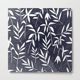 White bamboo leaves on a blue background Metal Print