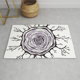 Watercolor Tree Ring, Purple Rug