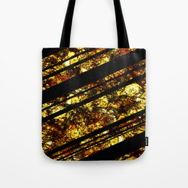 Gold Bars - Abstract, black and gold metallic, textured diagonal stripes pattern Tote Bag