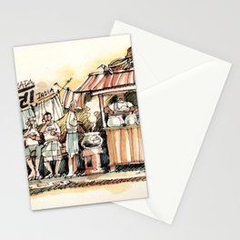 Kolkata India Sketch in Watercolor | City View | Street Food Stall | Calcutta West Bengal Stationery Cards