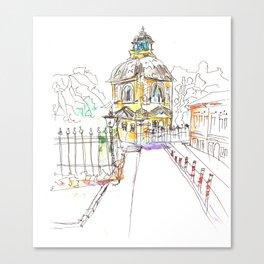 urban sketch in watercolor Canvas Print