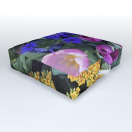 Floral Spectacular: Blue, Plum and Gold - Olbrich Botanical Gardens Spring Flower Show, Madison, WI Outdoor Floor Cushion