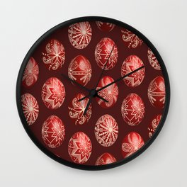 Realistic easter red dyed eggs pysanka Wall Clock