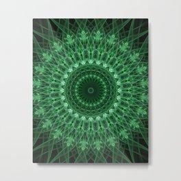 Detailed mandala in light and dark green tones Metal Print