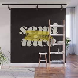 Semi Nice black-white yellow typography poster bedroom wall home decor Wall Mural