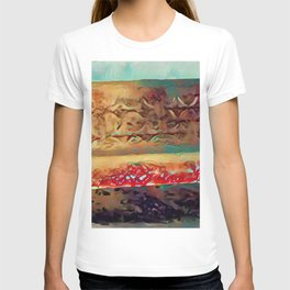 Snowy Sunlit Red Garden Bench by CheyAnne Sexton T-shirt