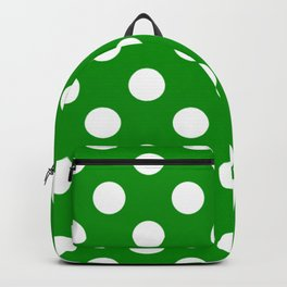 Islamic green - green - White Polka Dots - Pois Pattern Backpack